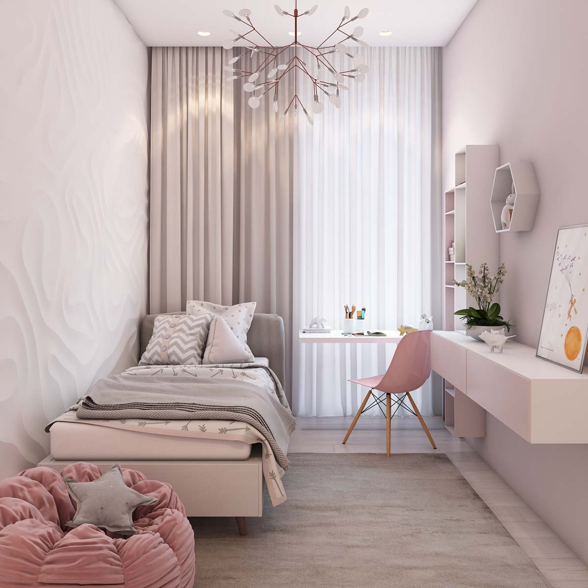 Pink Girls Room - A simple modern apartment in moscow
