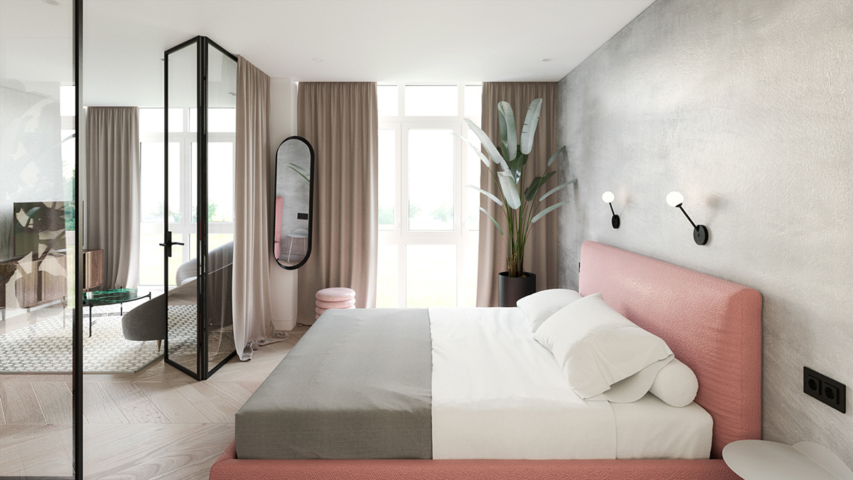 Pink Headboard - 6 sleek studios with glass walled bedrooms