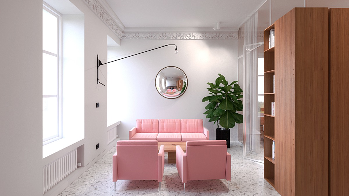 Pink Living Room - 6 sleek studios with glass walled bedrooms