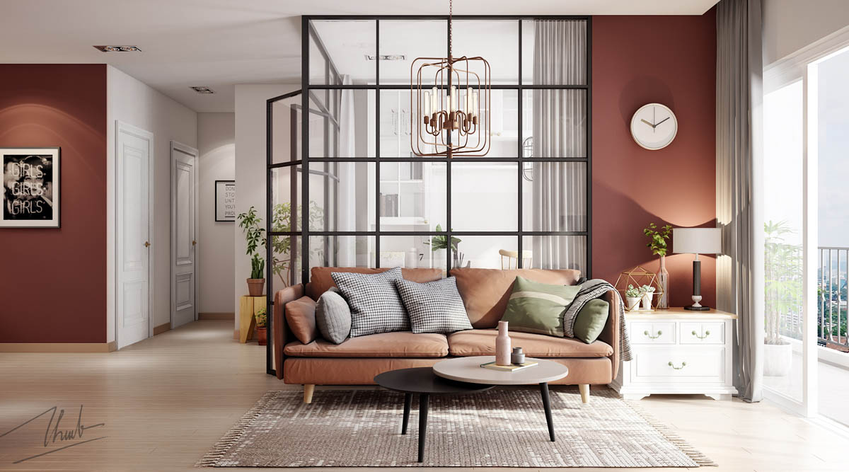 Rust Colored Paint - 6 sleek studios with glass walled bedrooms