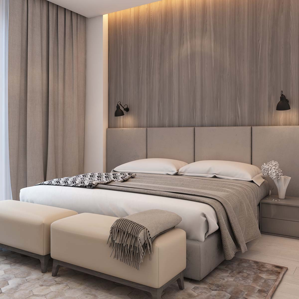 A simple modern apartment in moscow for Bed decoration simple