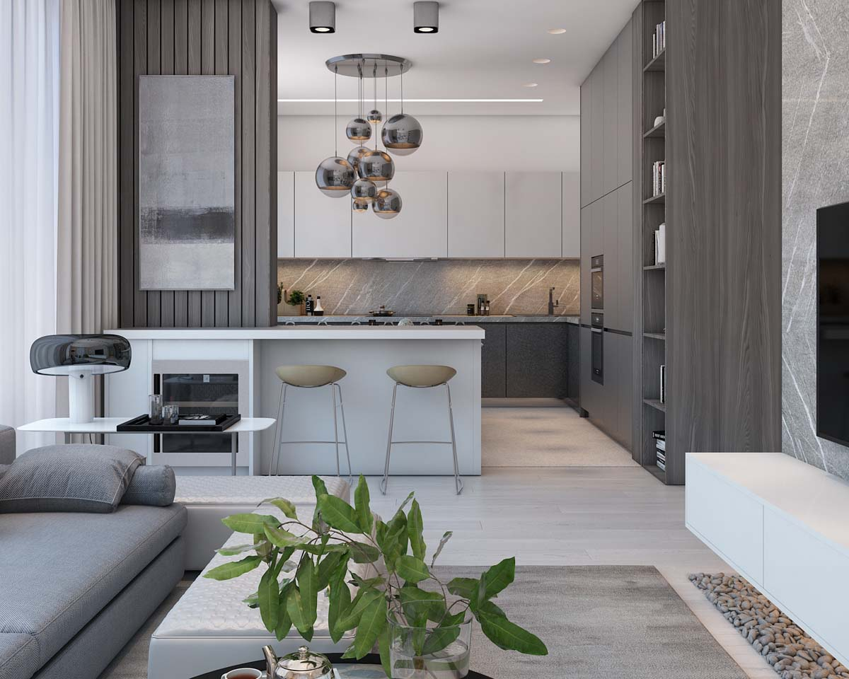 Simple Kitchen Barstools - A simple modern apartment in moscow
