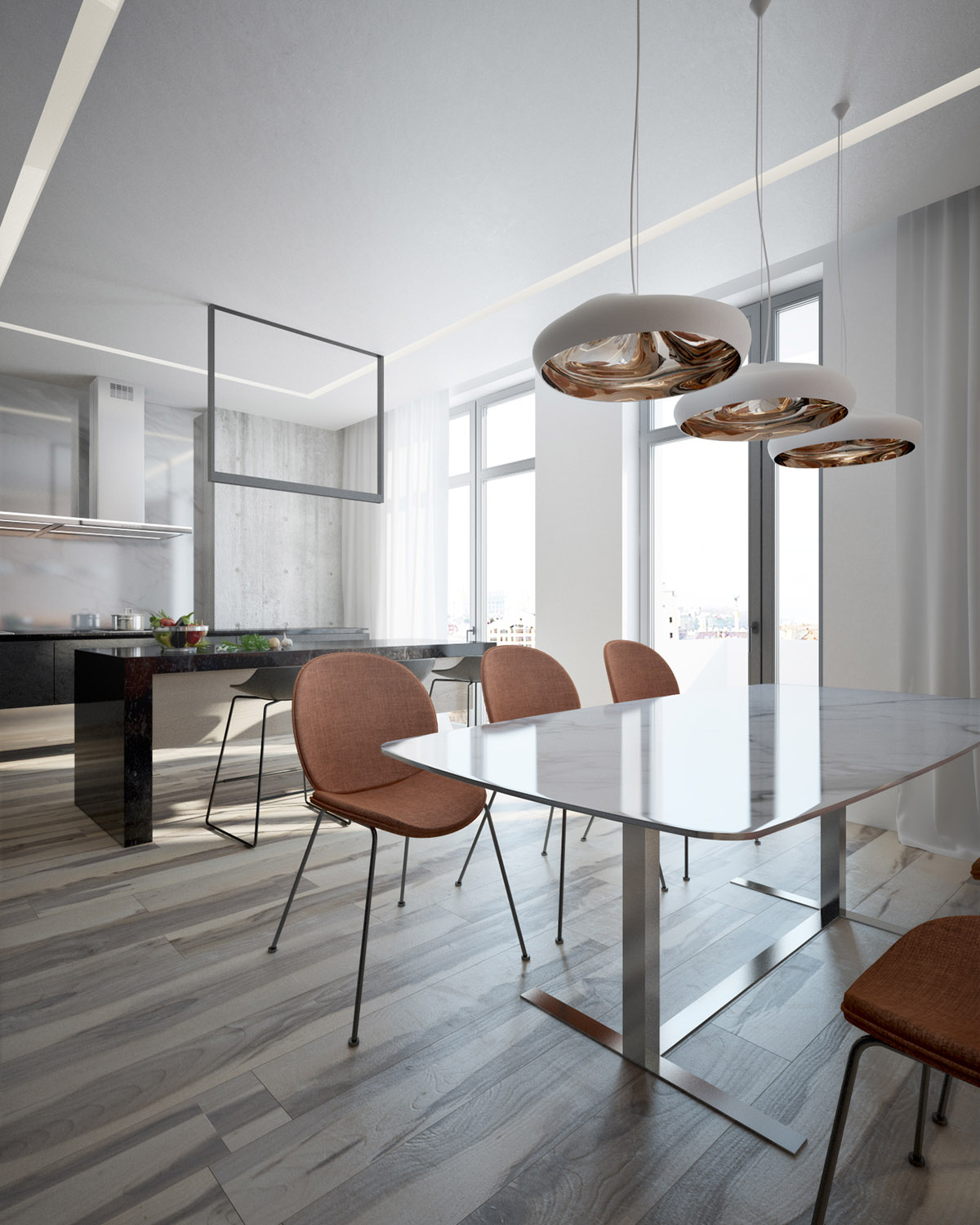 Copper Dining Room Pendant Lights - 4 interiors where wood and concrete meet