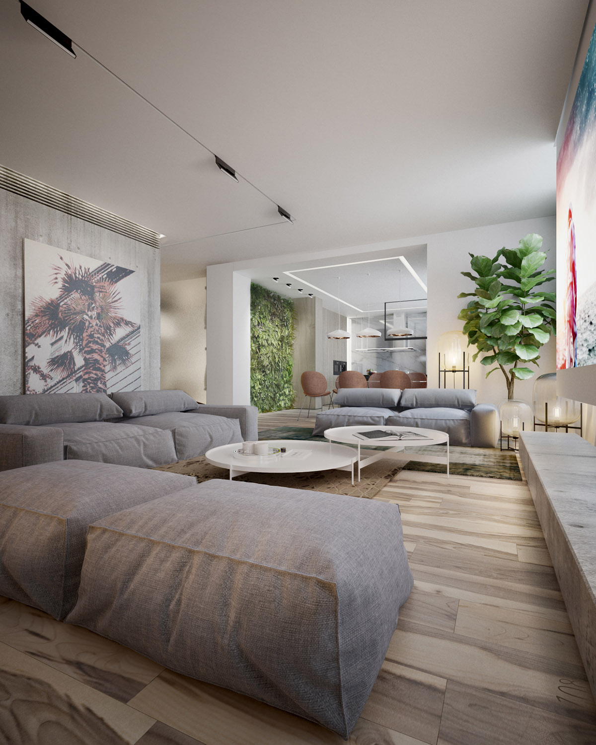 Gray Sectional Sofa - 4 interiors where wood and concrete meet