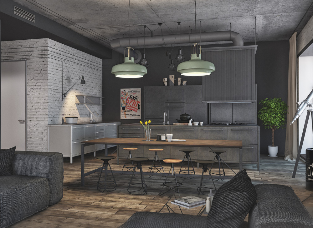 Industrial Style Dining Suite - 4 interiors where wood and concrete meet