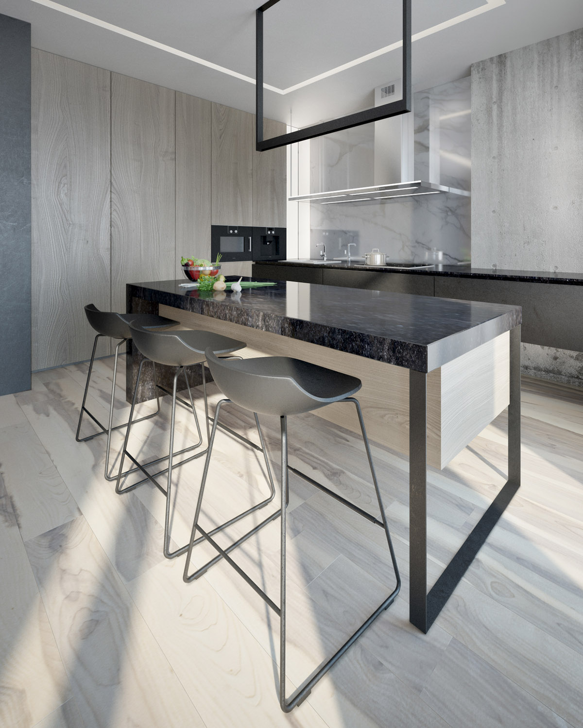 Kitchen Bar Stools - 4 interiors where wood and concrete meet