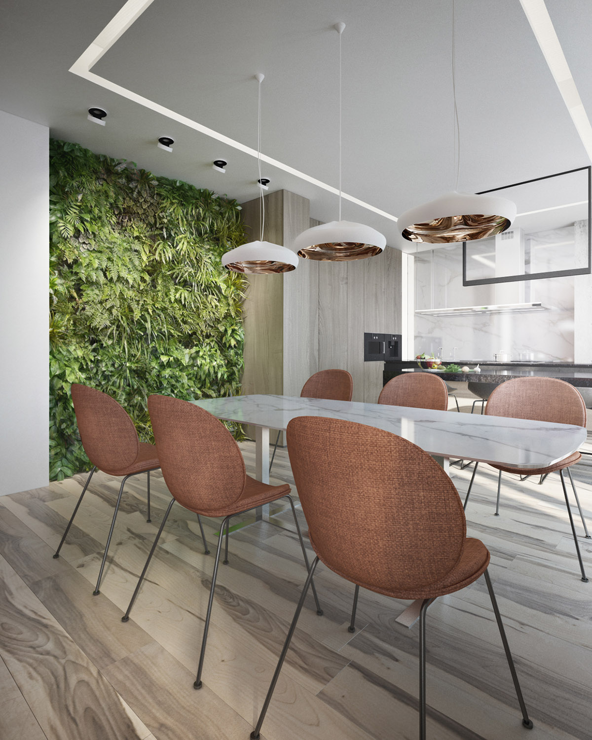 Modern Dining Chairs - 4 interiors where wood and concrete meet