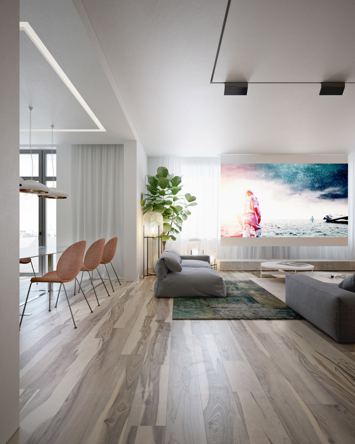Open Plan Lounge - 4 interiors where wood and concrete meet