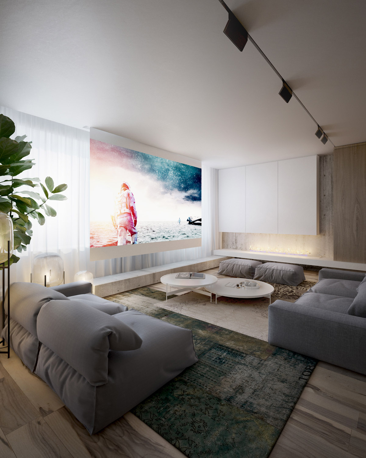 Projector Screen - 4 interiors where wood and concrete meet