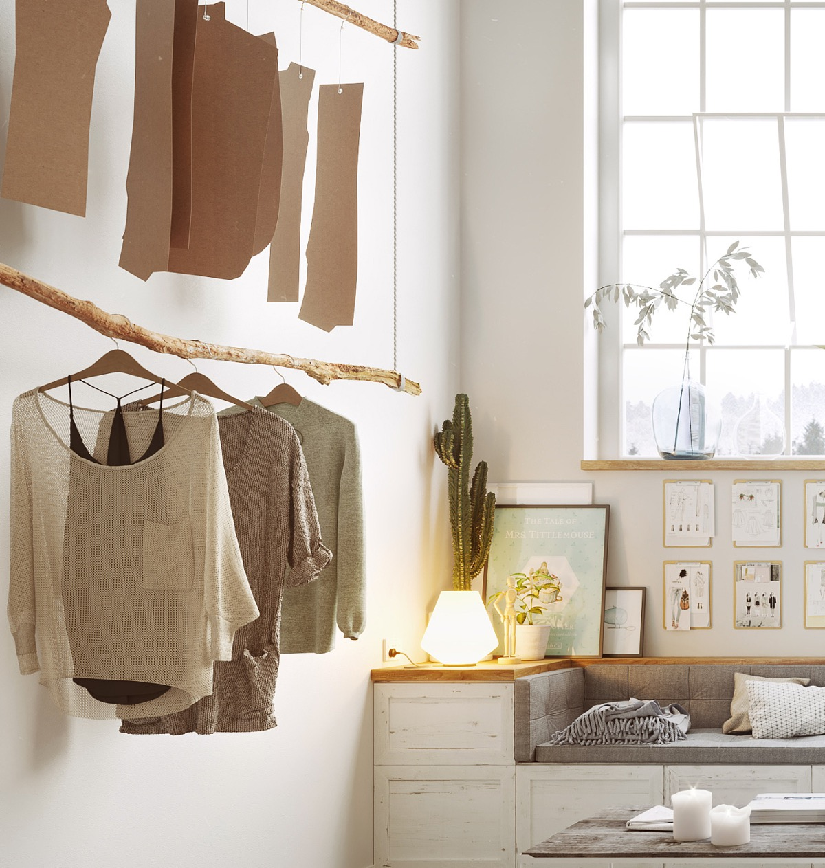Rustic Clothes Rail - Scandinavia meets japan in these minimalist work spaces