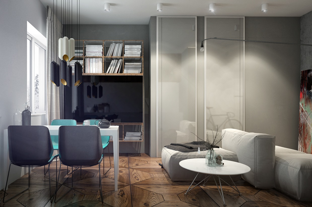 Turquoise Dining Chairs - 4 interiors where wood and concrete meet