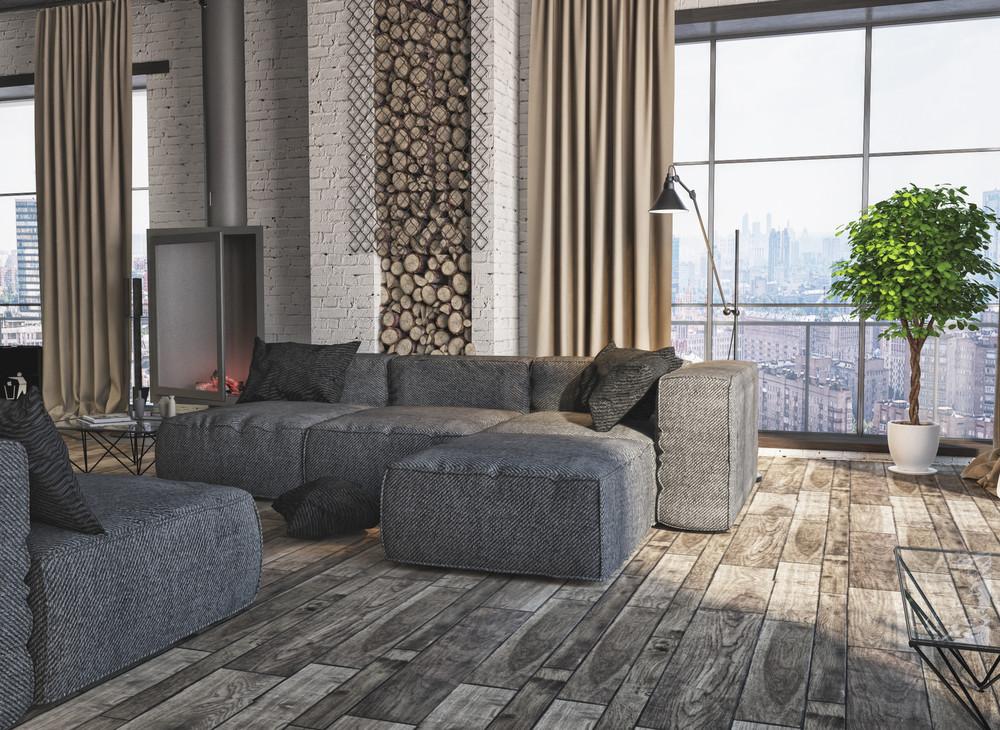 Upholstered Sectional Sofa - 4 interiors where wood and concrete meet