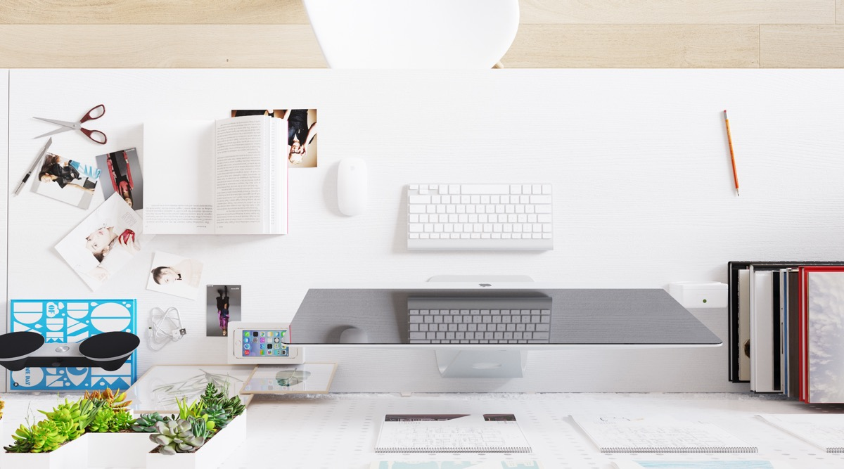 White Computer Desk - Scandinavia meets japan in these minimalist work spaces