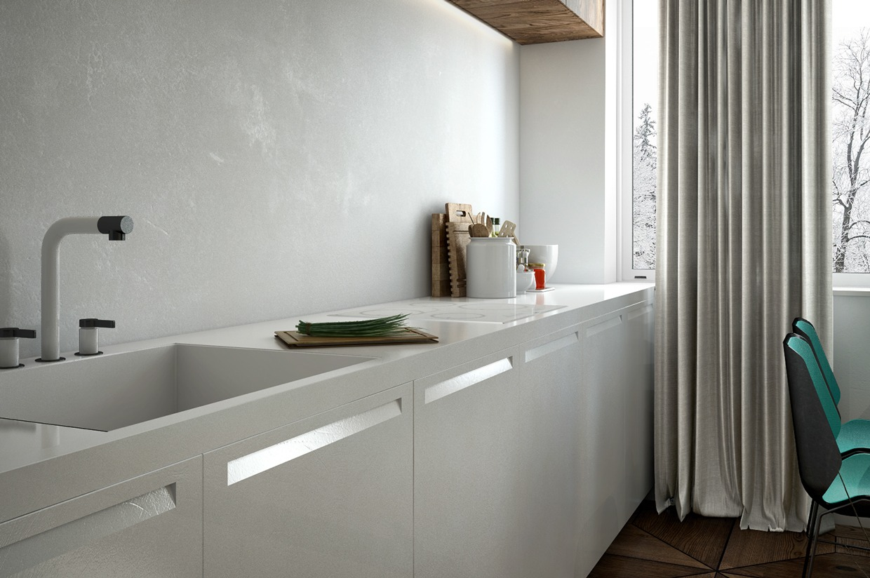 White Faucet - 4 interiors where wood and concrete meet
