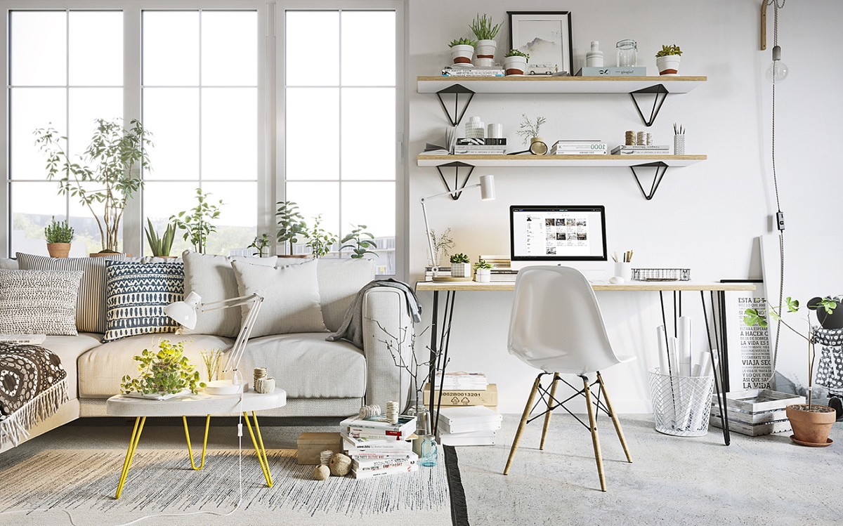 White Yellow Coffee Table - Scandinavia meets japan in these minimalist work spaces
