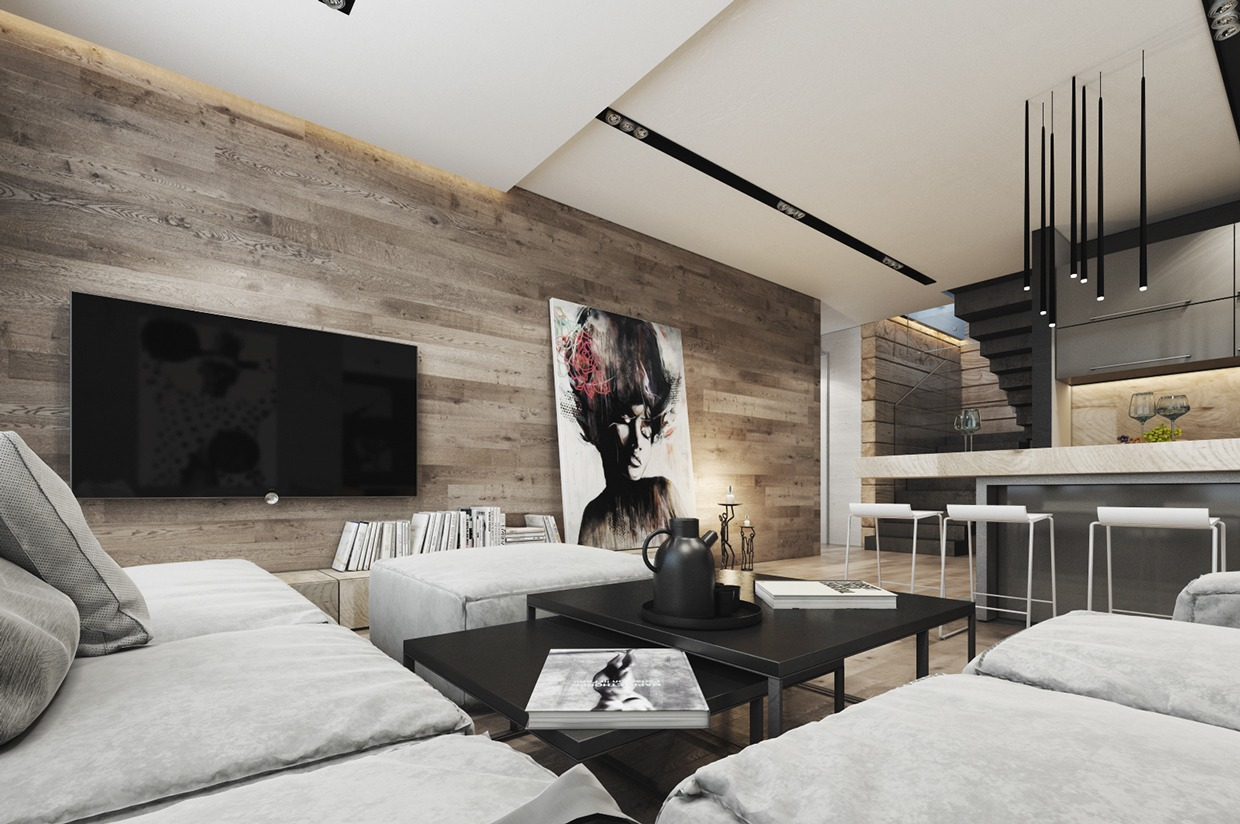 Wood Wall Paneling - 4 interiors where wood and concrete meet