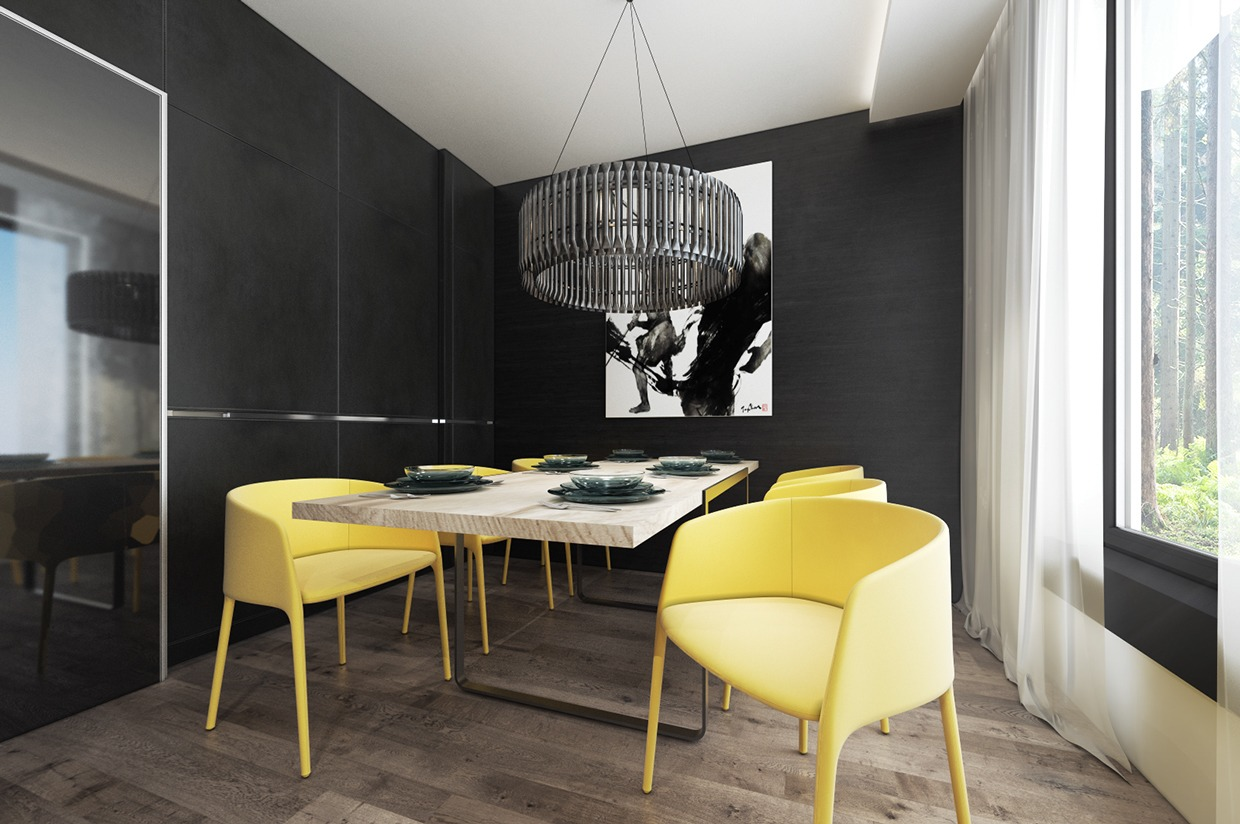 Yellow Modern Dining Chairs - 4 interiors where wood and concrete meet