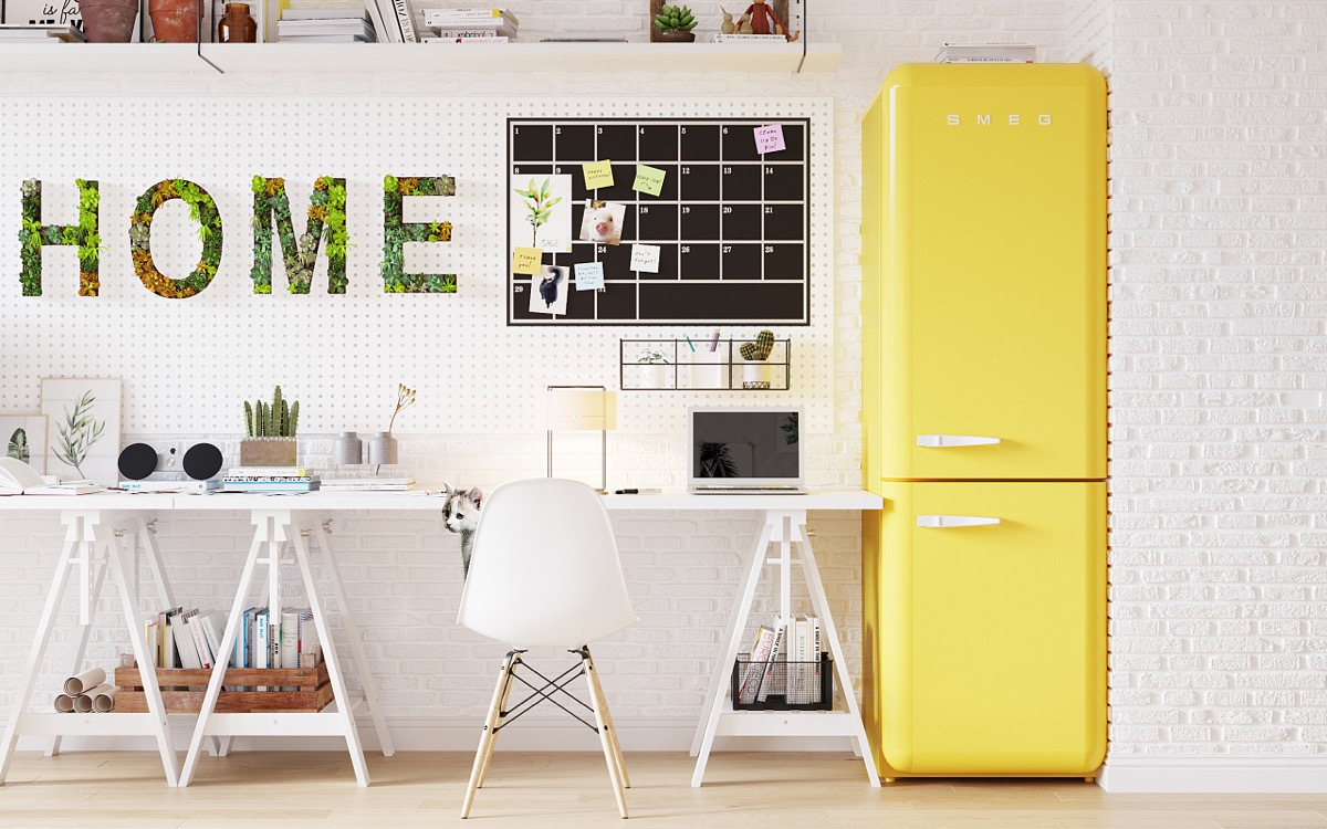 Yellow Refrigerator - Scandinavia meets japan in these minimalist work spaces