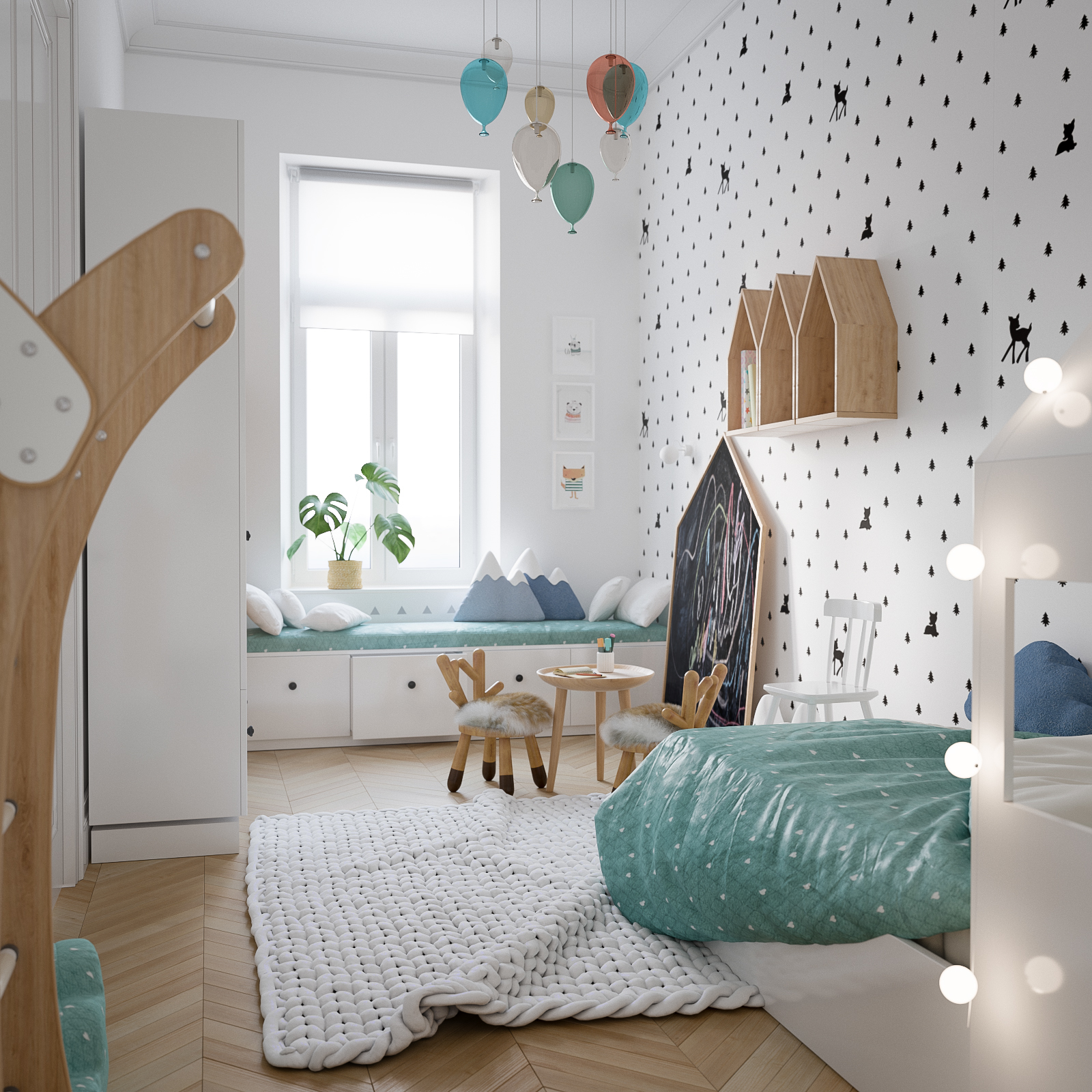 Modern scandinavian style home design for young families for Childrens room mural