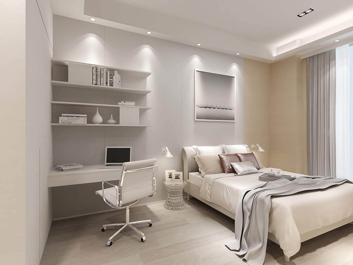 Bedroom Wall Sconces - 2 luxury homes with beige focused interior design
