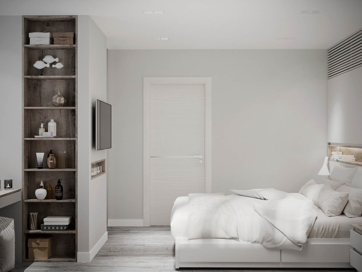 2 modern homes the use grey for a calming effect for Clean bedroom designs