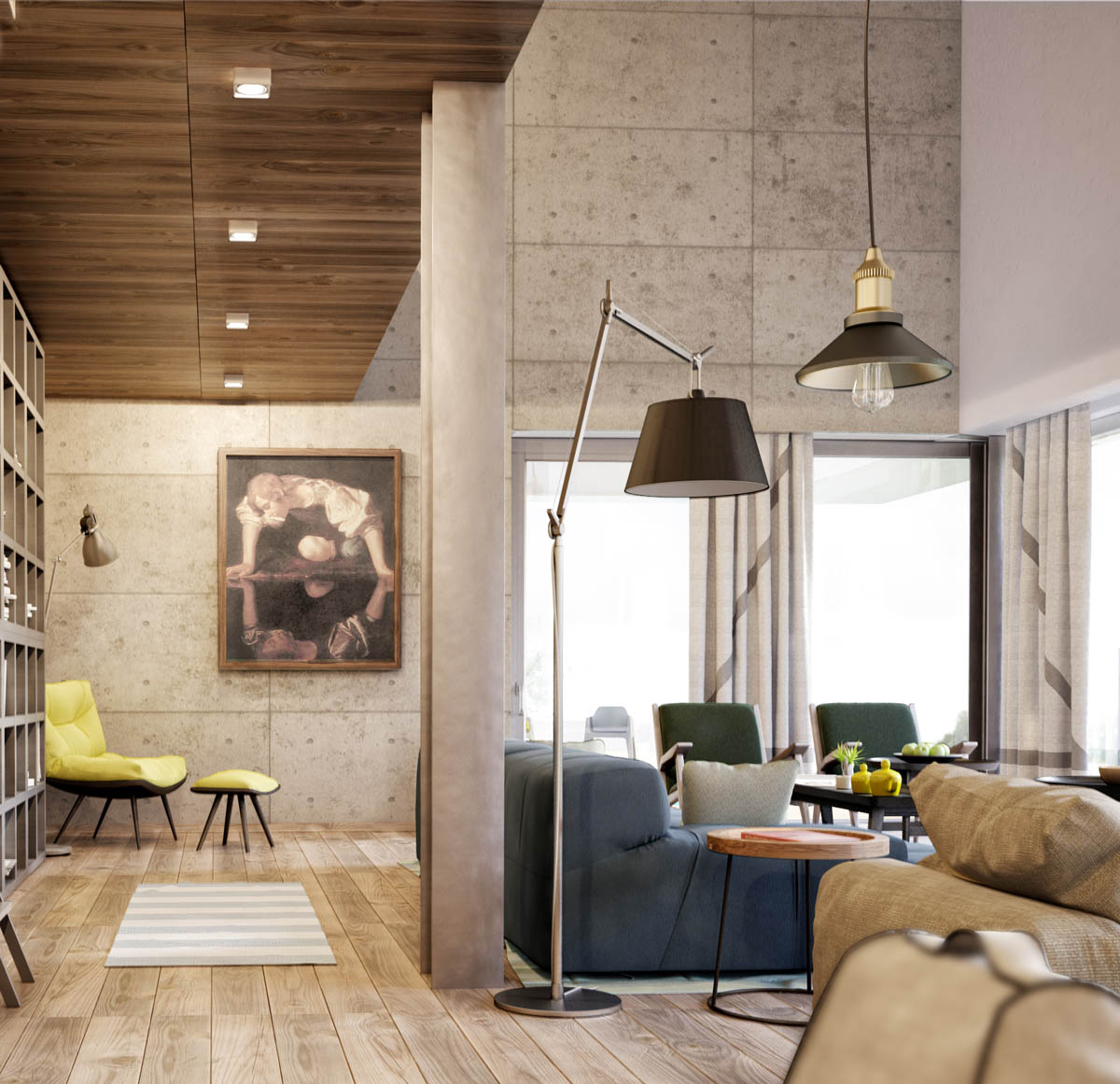 Comfortable Reading Chairs - 3 apartments with industrial inspired concrete wall panels