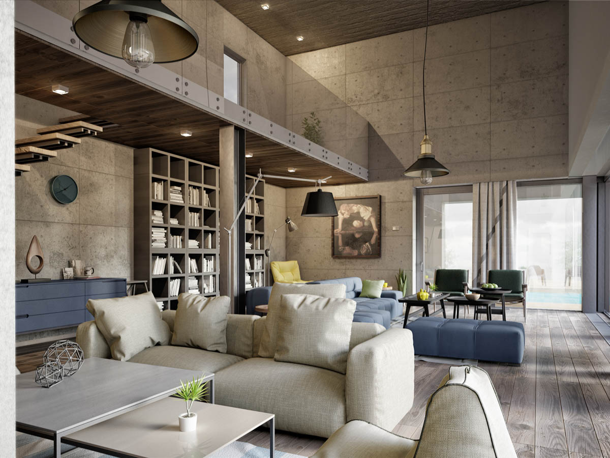 Concrete Wall Design - 3 apartments with industrial inspired concrete wall panels