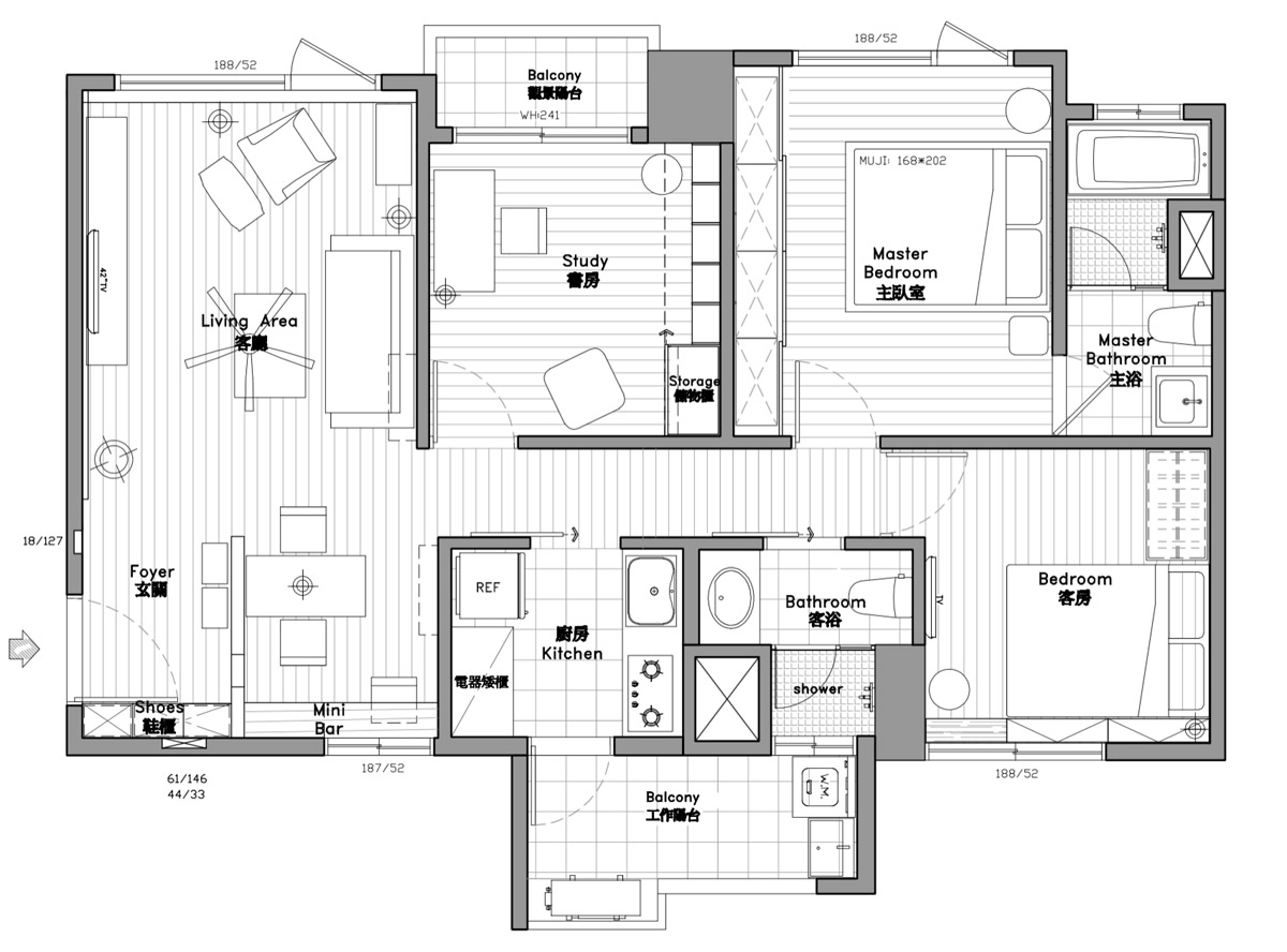 2 bedroom modern apartment design under 100 square meters 2 great examples - Houses undersquare meters ...