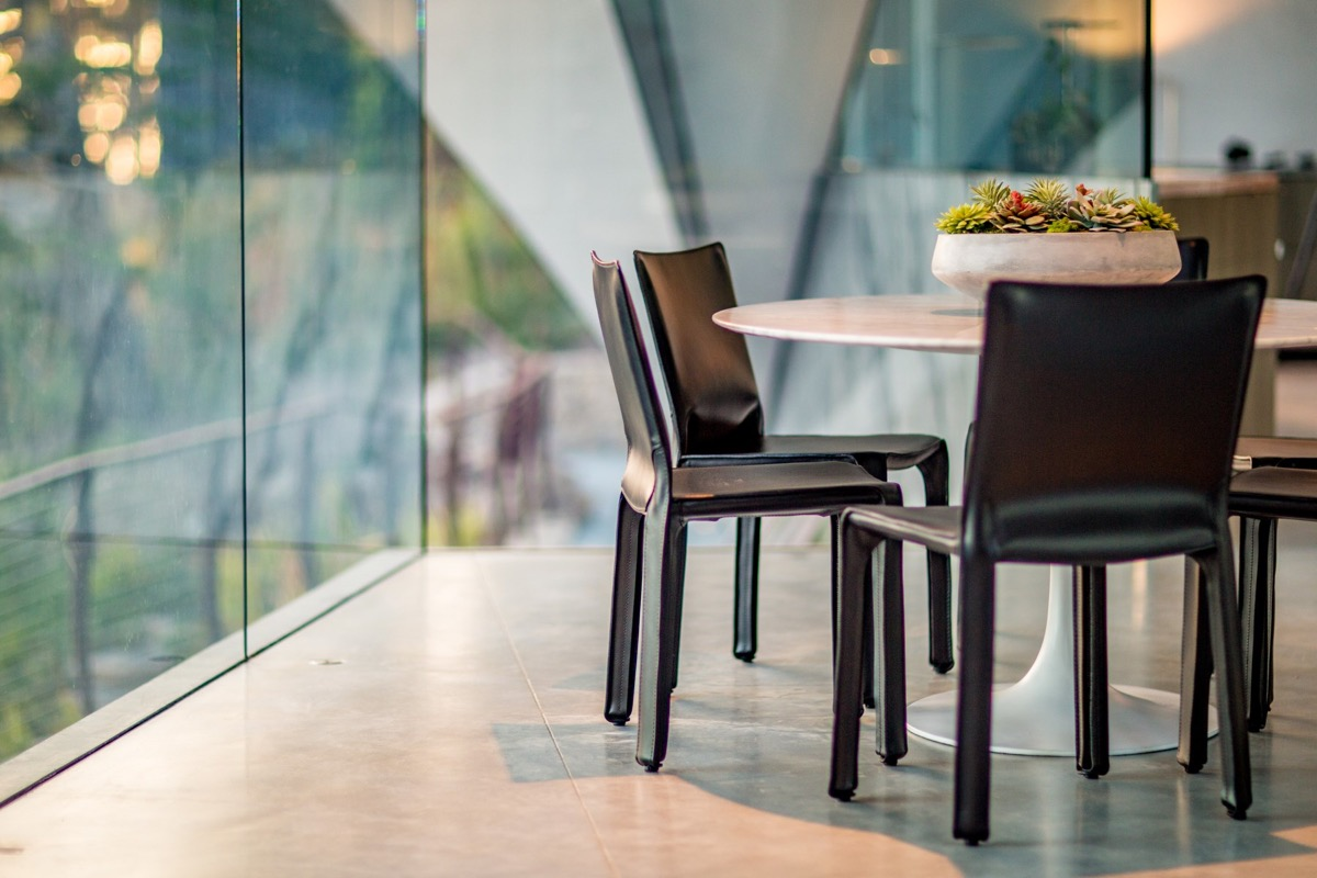 Glass Dining Room Design - A stunning butterfly inspired house on the california coast
