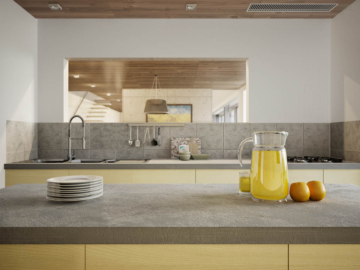 Glass Kitchen Pitcher - 3 apartments with industrial inspired concrete wall panels
