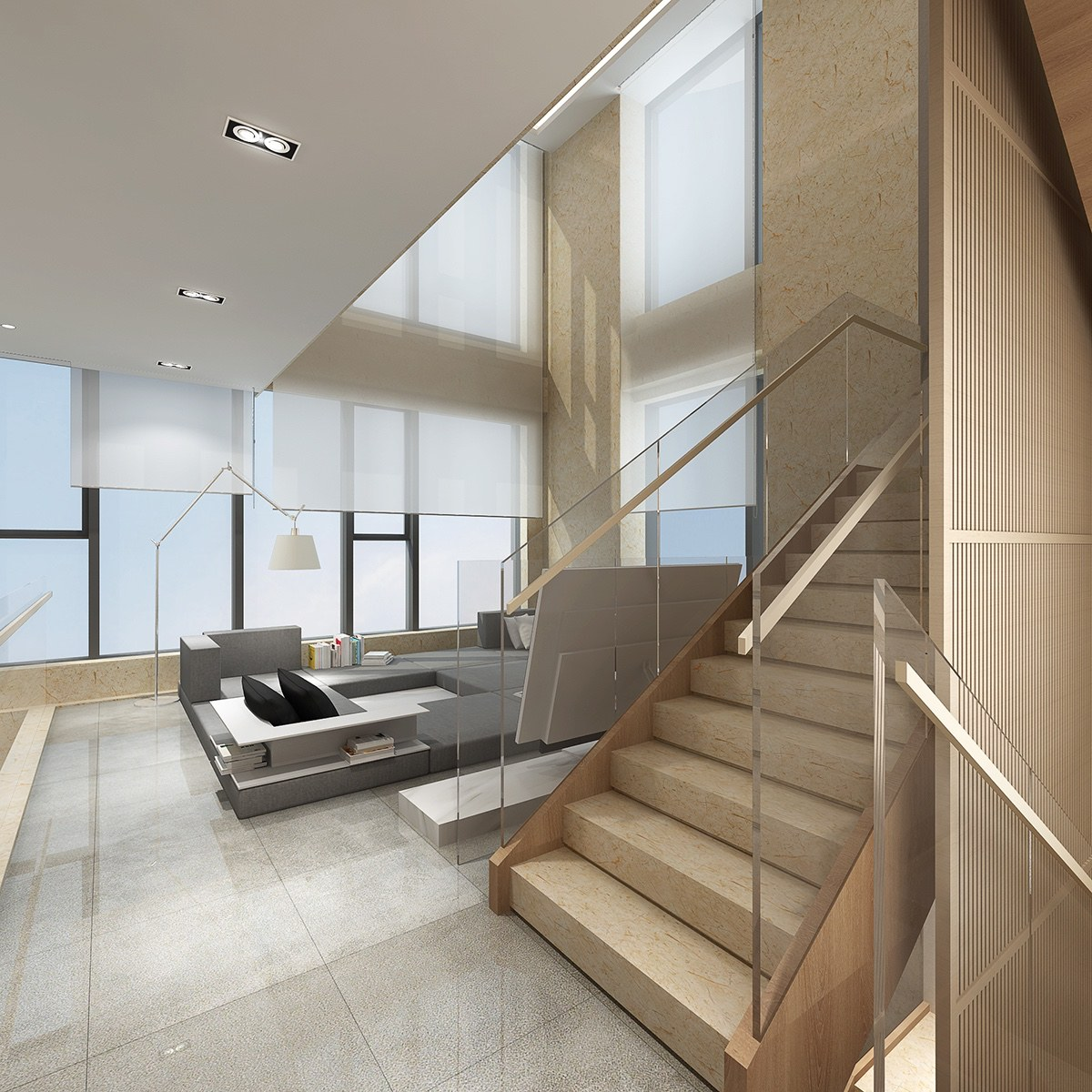 Glass Staircase - 2 luxury homes with beige focused interior design