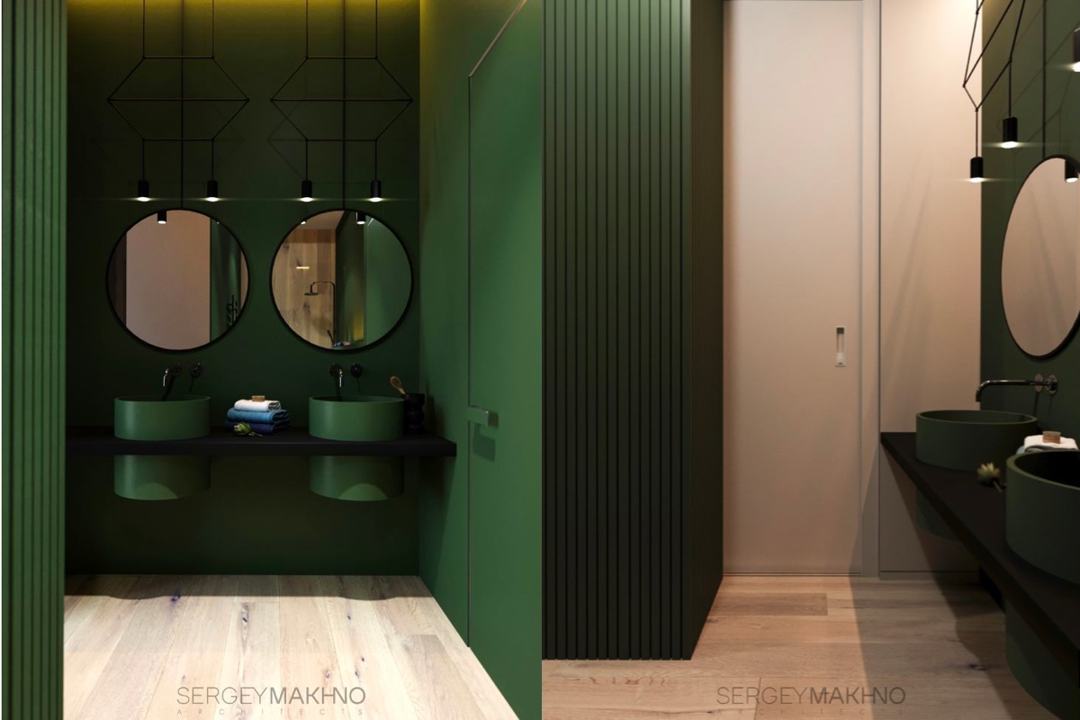 Minimalist interior design with green plant accents for Green and black bathroom ideas