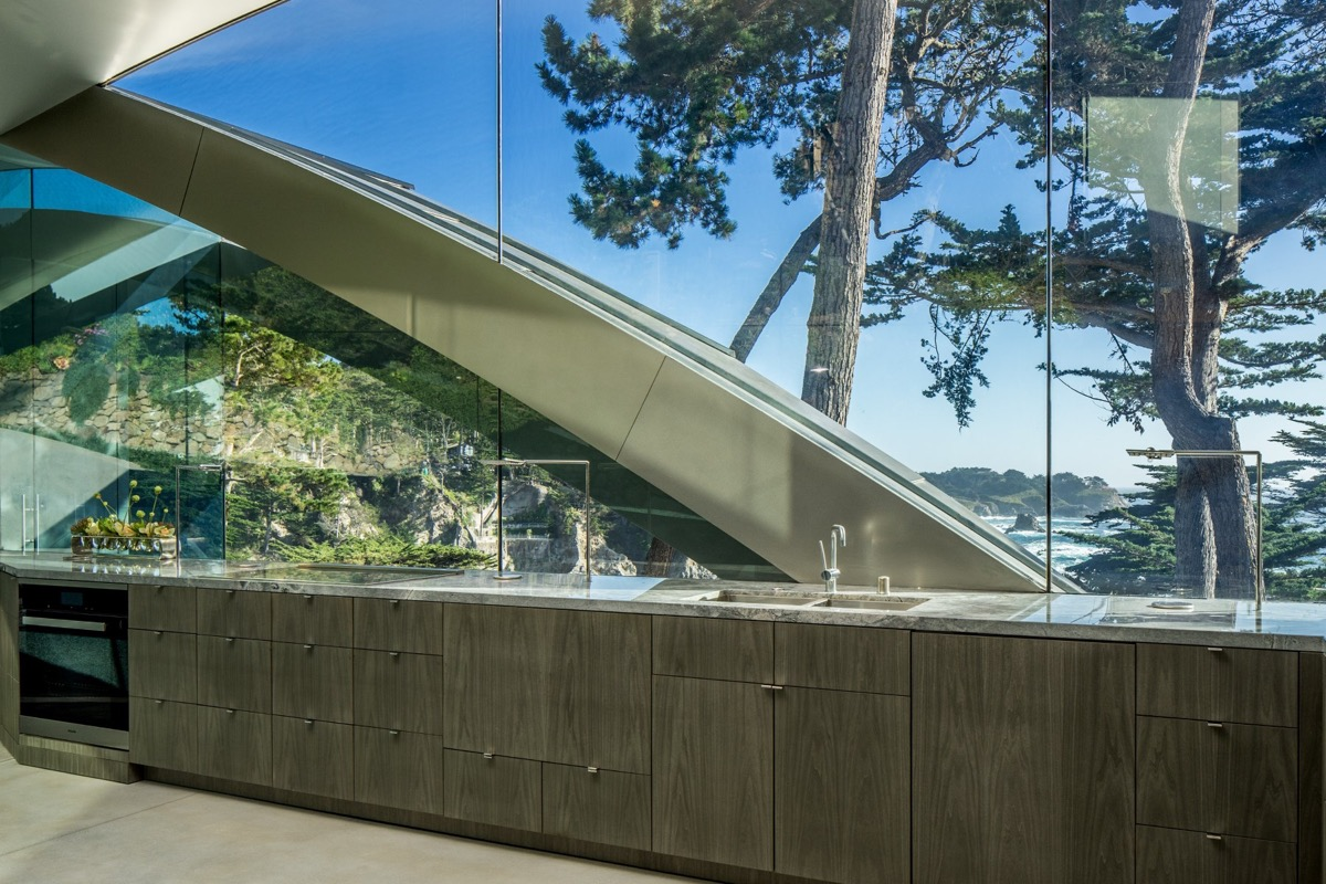 Kitchen With Glass Walls - A stunning butterfly inspired house on the california coast