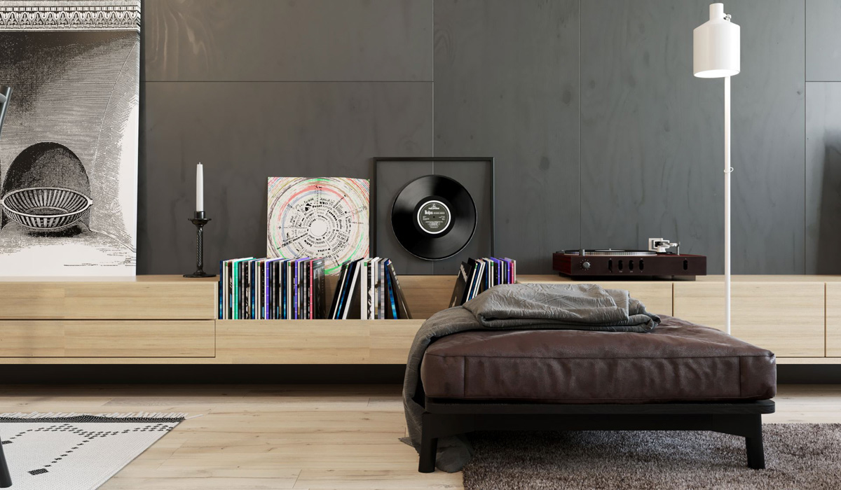 flooringjust interior ideas just interior design ideas looking from the ottoman the space opens out to a kitchen in grey a neutral tone dining area and splashes of colour in an above sofa artwork