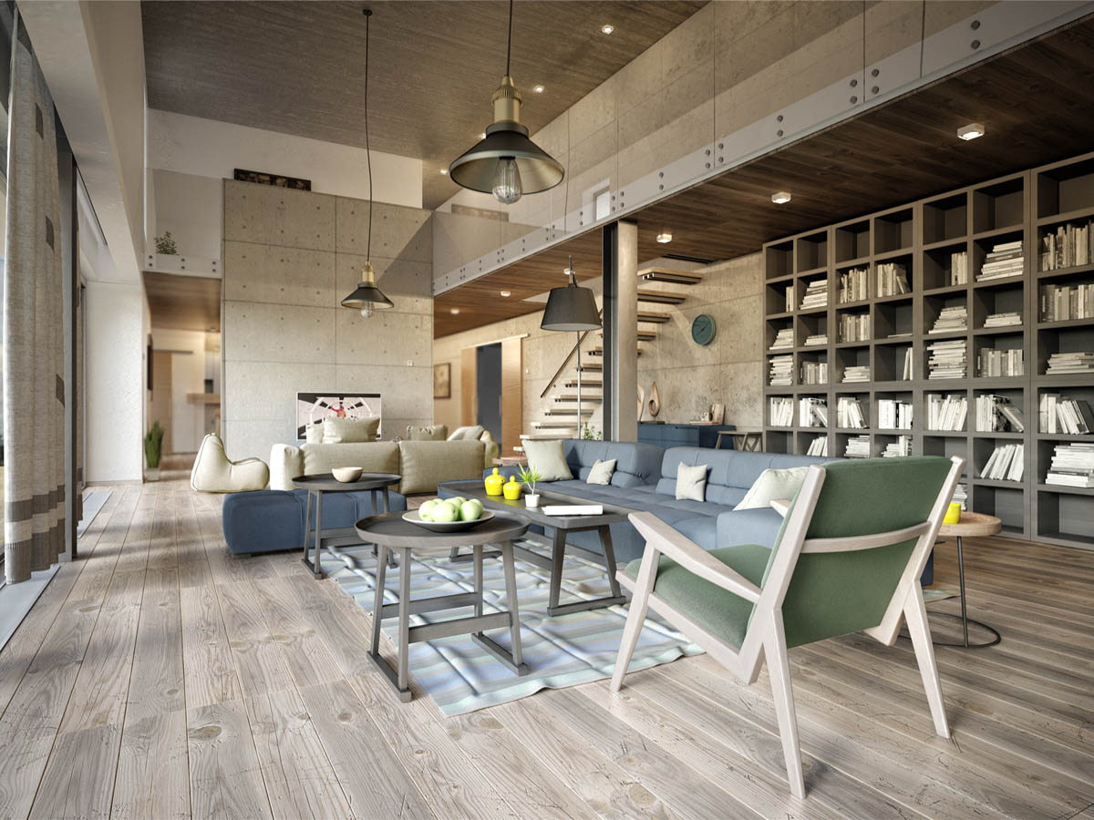 3 apartments with industrial inspired concrete wall panels for Open floor plan homes with loft