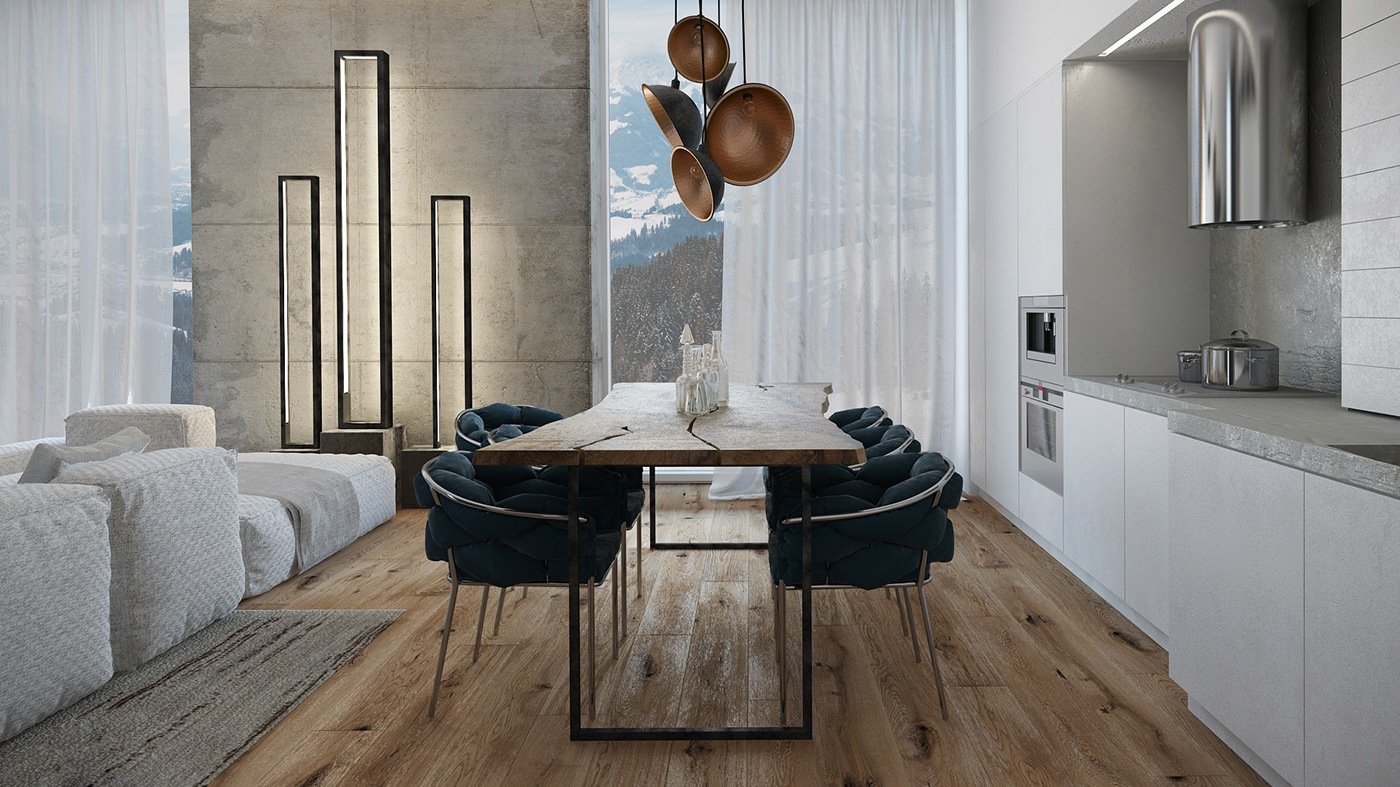Reclaimed Wood Flooring - 3 apartments with industrial inspired concrete wall panels