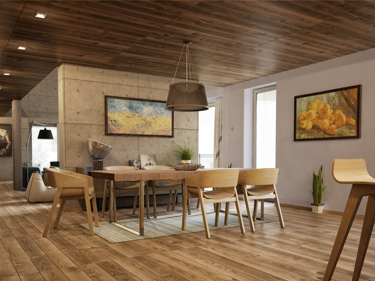 Rich Wood Flooring - 3 apartments with industrial inspired concrete wall panels