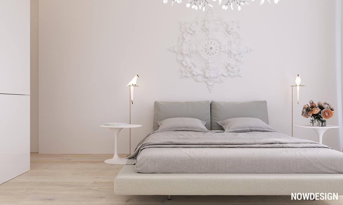 The Bedroom In This Home Is Ethereal And Romantic, From Its Molded  Headboard Accent To It Unique Bedside Lamps, Which Are Available On Amazon.