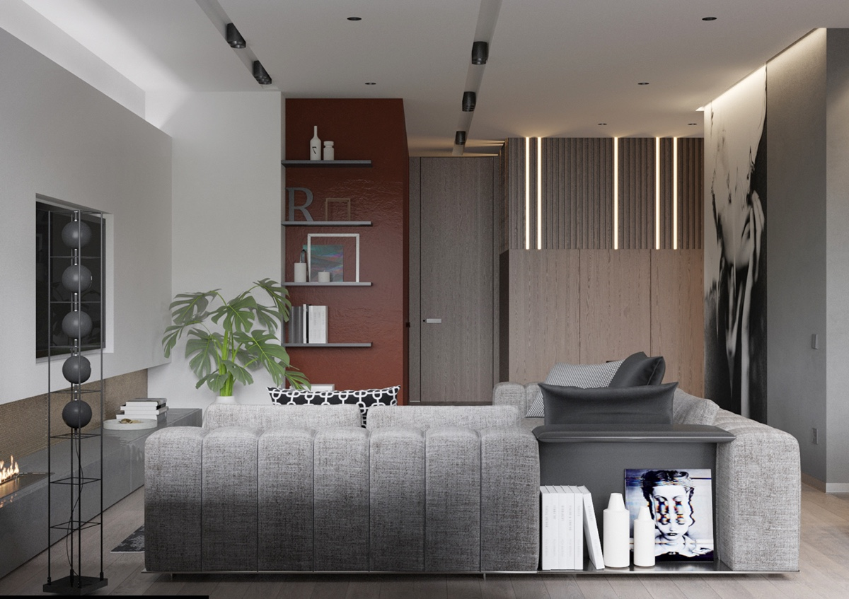 2 modern homes the use grey for a calming effect for Red accent wall
