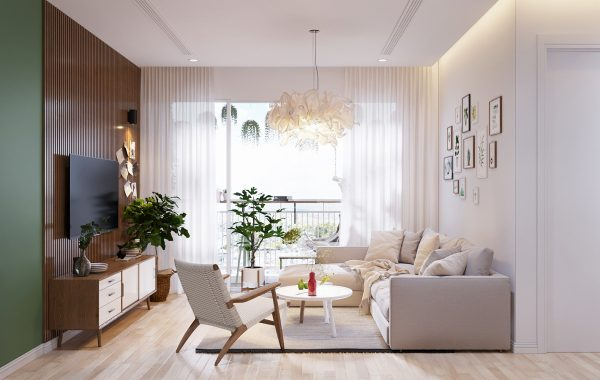 Further the deep wood paneling and the green wall have a warm natural feel to them while the white walls and furniture make sure that the space does not