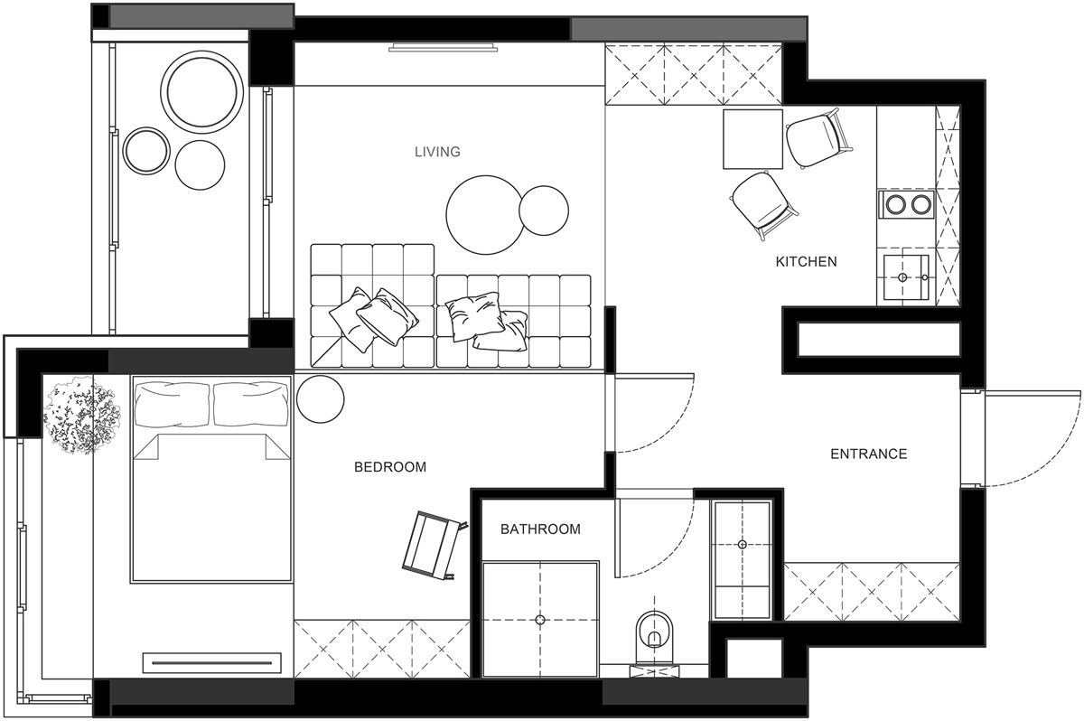 3 one bedroom apartments with floor plans for Simple apartment floor plan