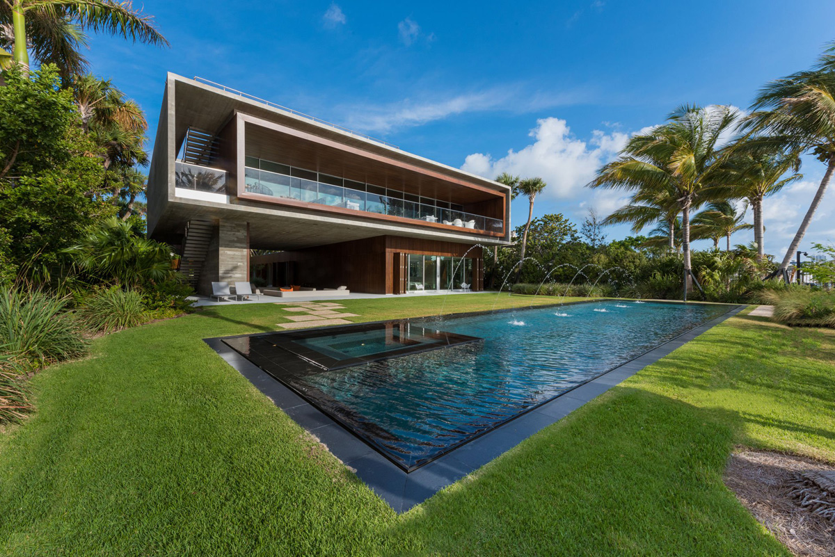 A luxury miami beach home with pools natural lagoons and for Residential pools