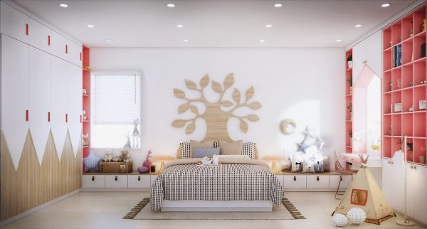The large bed features a unique carved headboard in the shape of a tree really encapsulating the natural yet playful look of this room. & 7 Beautiful Examples To Help You Design A Room For A Young Girl ...
