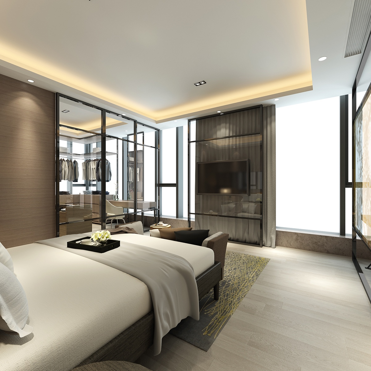White And Wood Bedroom - 2 luxury homes with beige focused interior design