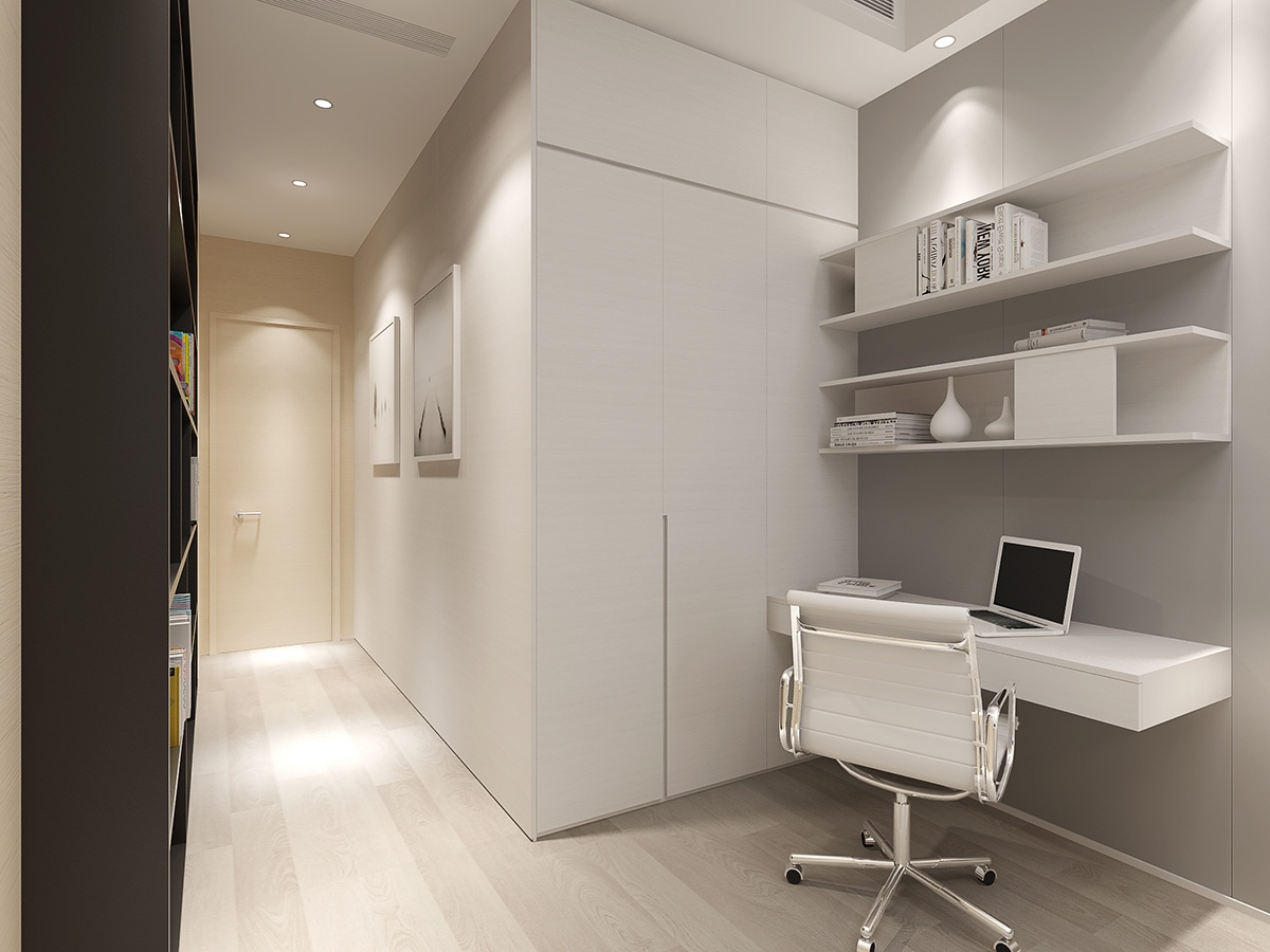 White Home Office Setup - 2 luxury homes with beige focused interior design