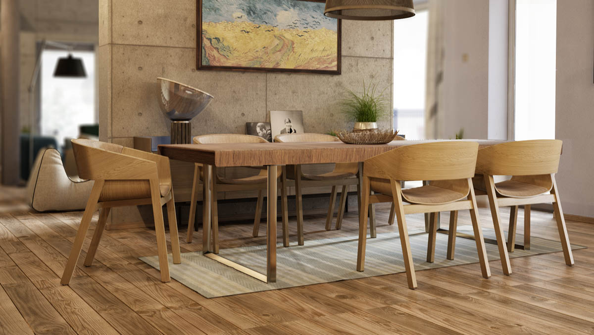 Wood Dining Chairs - 3 apartments with industrial inspired concrete wall panels