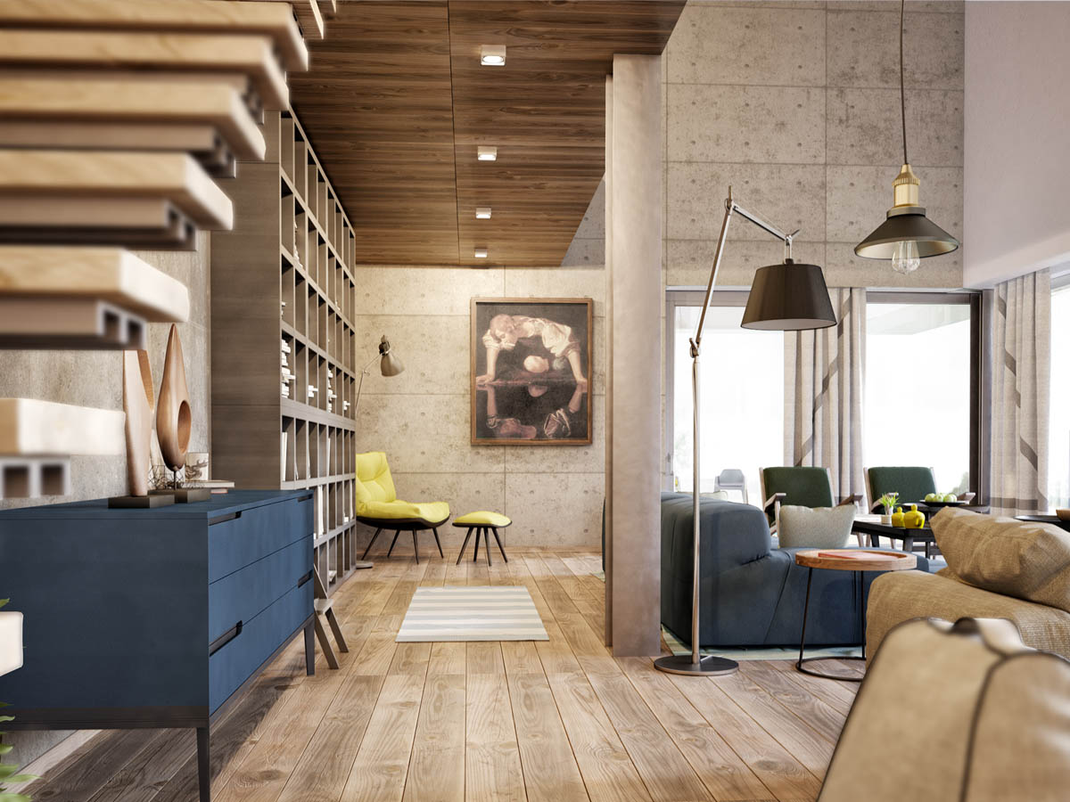 Wood Panel Ceiling - 3 apartments with industrial inspired concrete wall panels