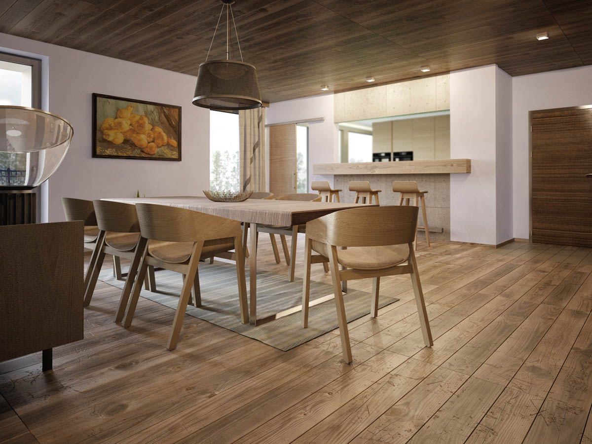 Wooden Scandinavian Chairs - 3 apartments with industrial inspired concrete wall panels