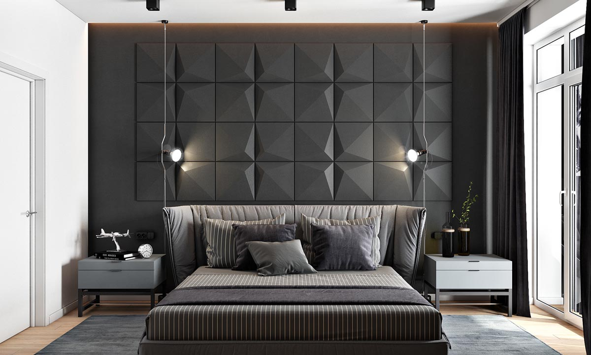 2 masculine interiors in shades of grey black brown. Black Bedroom Furniture Sets. Home Design Ideas
