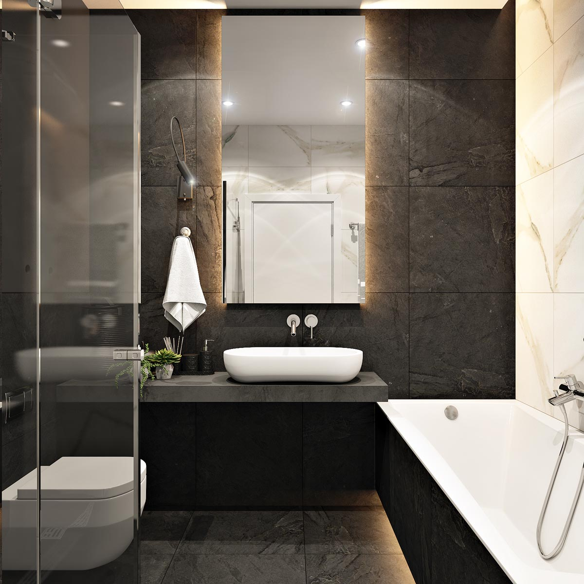 2 masculine interiors in shades of grey black brown for Tan and black bathroom ideas